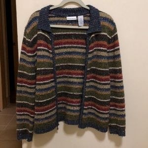 Stripped Zip-Up Sweater